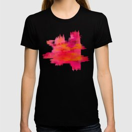 """Abstract brushstrokes in pastel pinks and solar orange"" T-shirt"