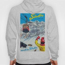 Switzerland Vintage Ski Travel Poster Hoody