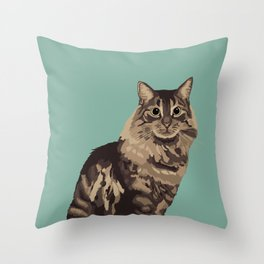 The Long-Haired Tabby Cat Throw Pillow