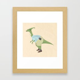 Hipster Dinosaur jams to some indie tunes on his walkman Framed Art Print