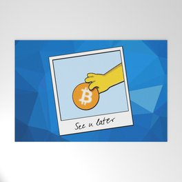 See you later Bitcoin on blue facets Welcome Mat