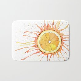 Splash Orange Slice Watercolor Painting Bath Mat