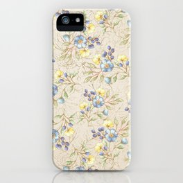 Vintage ivory linen blue yellow gold floral pattern iPhone Case