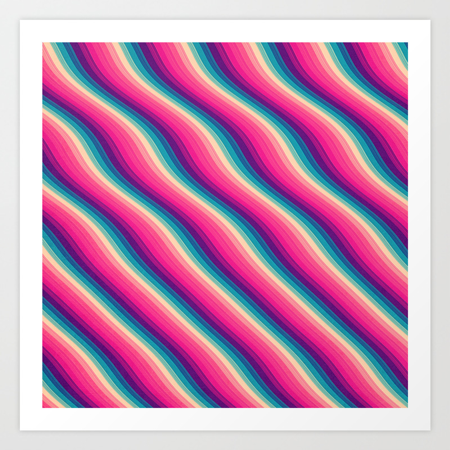 Abstract Color Burn Pattern Geometric Lines Optical Illusion In Rainbow Acid Colors Art Print