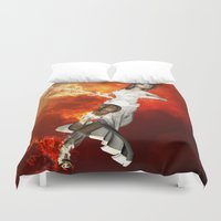 manga Duvet Covers featuring Manga girl with swords by nicky2342