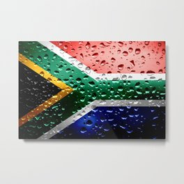 Flag of South Africa - Raindrops Metal Print