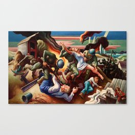 Classical Masterpiece 'WWII Depiction - Blood and Fire' by Thomas Hart Benton Canvas Print