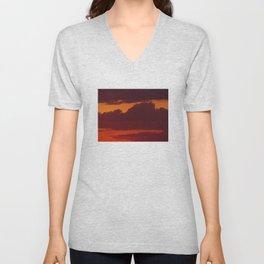 Orange sunset sky (dark) Unisex V-Neck