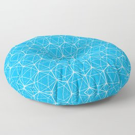 Icosahedron Pattern Bright Blue Floor Pillow