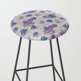 Hydrangeas and French Script with birds on gray background Bar Stool