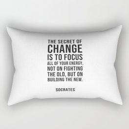 Socrates Quotes - The secret of change Rectangular Pillow