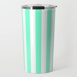 Pale Aquamarine and White Vertical Beach Hut Stripes Travel Mug