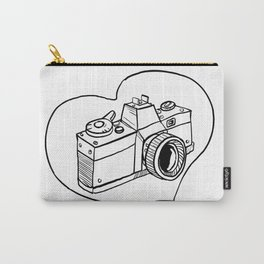 Vintage 35mm SLR Camera Heart Drawing Carry-All Pouch