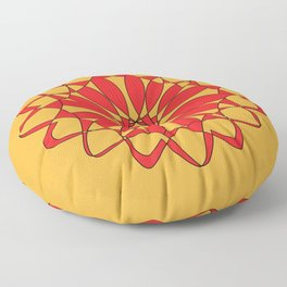Mandala Pattern Red on Orange Floor Pillow