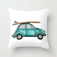 Turquoise summer time VW bug  Throw Pillow