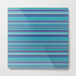 Thin Stripes in Purple, Turquoise and Blue Metal Print
