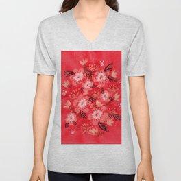 Cranberry Blooms Unisex V-Neck