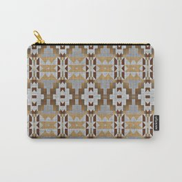 Brown Taupe Tan Gray Native American Indian Mosaic Pattern Carry-All Pouch