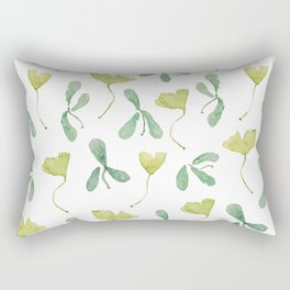"Watercolor Painting of Picture ""Green Leaves"" Rectangular Pillow"