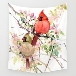 Cardinal Birds and Spring, cardinal bird design Wall Tapestry
