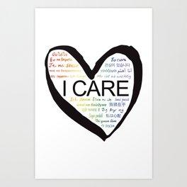 I CARE (PRIDE BLK) Art Print