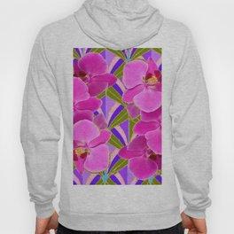 Pink & Fuchsia Purple Art Deco Orchids Art Hoody