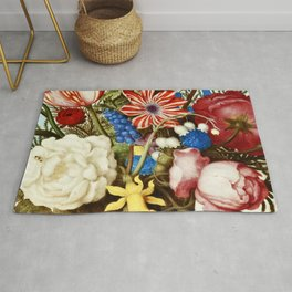 Colorful Still Life with Flowers and Insect Rug