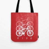 bikes Tote Bags featuring Bikes by ClicheZero