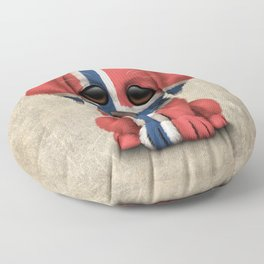 Cute Puppy Dog with flag of Norway Floor Pillow