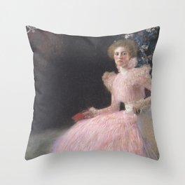 Gustav Klimt - Woman in Pink Throw Pillow