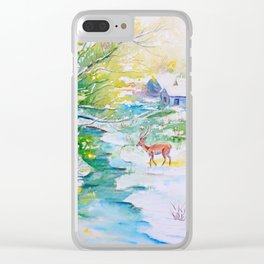 Winter landscape, snow stream and deer Clear iPhone Case