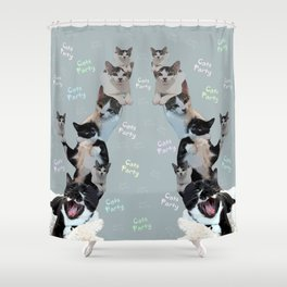 Cats Party!!!          funny, cute, cats, party, children, pet, humor, animals, Society6. Shower Curtain
