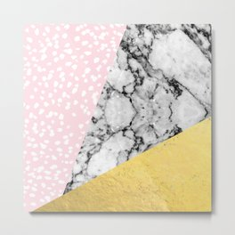 Corvi - marble gold foil and pink pastel painting abstract art dorm college nursery decor gifts Metal Print