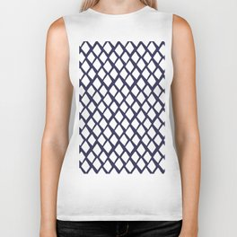 Rhombus White And Blue Biker Tank