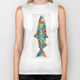 Fish Art Print - Colorful Salmon - By Sharon Cummings Biker Tank