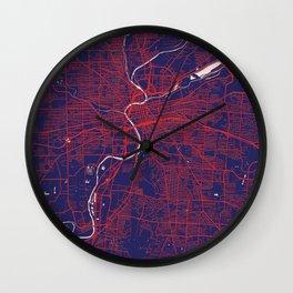 Dayton, OH, USA, Blue, White, City, Map Wall Clock