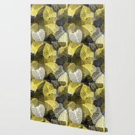 Black & Gold Leaf Abstract Wallpaper
