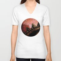 industrial V-neck T-shirts featuring Industrial Sunset by Bella Blue Photography