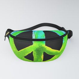 Turquoise Lime Watercolor Tie Dye Peace Sign Fanny Pack