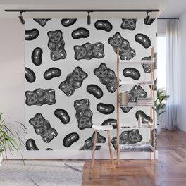 Jelly Beans & Gummy Bears Pattern - black on white Wall Mural