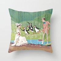 mary poppins Throw Pillows featuring Mary Poppins by Lesley Vamos
