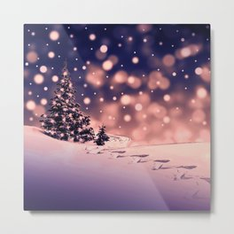 Winter Trees and snow with blue sky background Metal Print