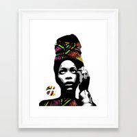 erykah badu Framed Art Prints featuring Erykah Abi Wright (Badu)  by hilbertart