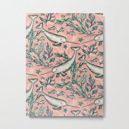 Narwhal Toile - peach pink Metal Print
