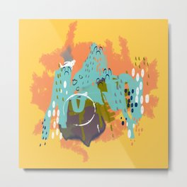 South of the Border, Abstract Gold Orange Mint Metal Print