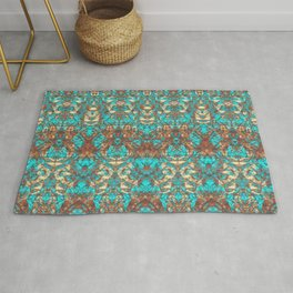 Turquoise Copper Brown Intricate Damask Rug