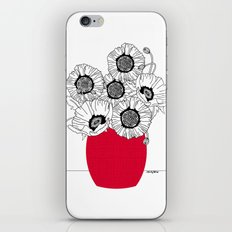 Black and White Poppies in a Red Vase iPhone & iPod Skin