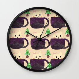 Merry Christmas cat cup 486 Wall Clock