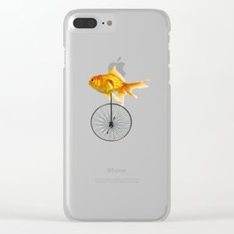 unicycle goldfish Clear iPhone Case