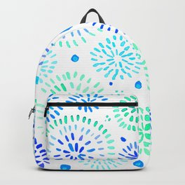 Abstract watercolor sparkles – aqua and blue Backpack